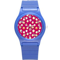 Cupcakes pattern Round Plastic Sport Watch (S)