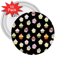 Cupcakes pattern 3  Buttons (10 pack)