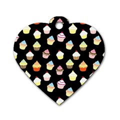 Cupcakes pattern Dog Tag Heart (Two Sides)