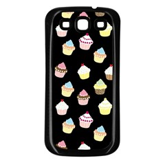 Cupcakes pattern Samsung Galaxy S3 Back Case (Black)