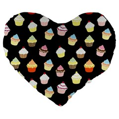 Cupcakes pattern Large 19  Premium Flano Heart Shape Cushions