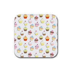 Cupcakes pattern Rubber Coaster (Square)
