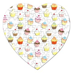 Cupcakes pattern Jigsaw Puzzle (Heart)
