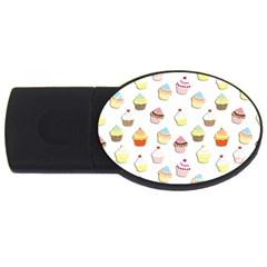 Cupcakes pattern USB Flash Drive Oval (4 GB)