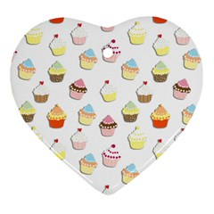 Cupcakes pattern Heart Ornament (Two Sides)