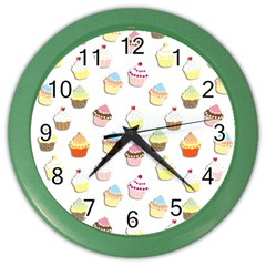 Cupcakes pattern Color Wall Clocks