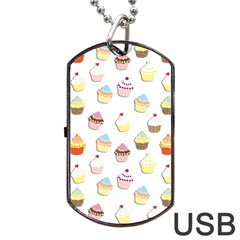 Cupcakes pattern Dog Tag USB Flash (One Side)