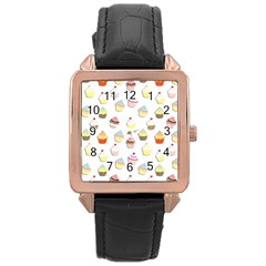 Cupcakes pattern Rose Gold Leather Watch