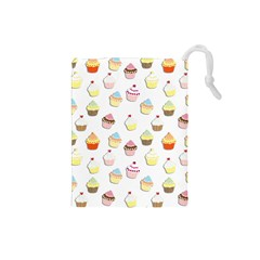 Cupcakes pattern Drawstring Pouches (Small)