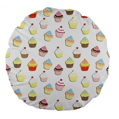Cupcakes pattern Large 18  Premium Flano Round Cushions