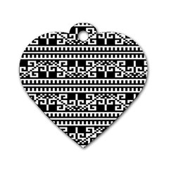 Traditional Draperie Dog Tag Heart (Two Sides)