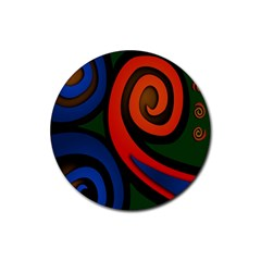 Simple Batik Patterns Rubber Coaster (Round)