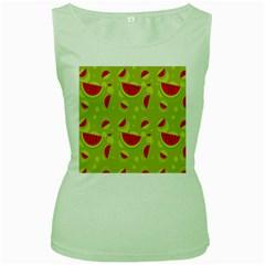 Watermelon Fruit Patterns Women s Green Tank Top