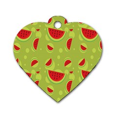 Watermelon Fruit Patterns Dog Tag Heart (Two Sides)