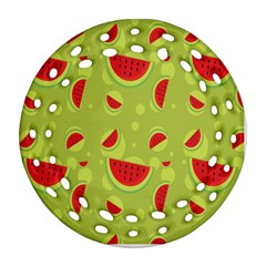 Watermelon Fruit Patterns Round Filigree Ornament (Two Sides)