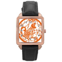 Chinese Zodiac Dog Rose Gold Leather Watch