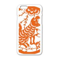 Chinese Zodiac Dog Apple iPhone 6/6S White Enamel Case