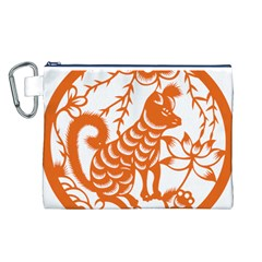 Chinese Zodiac Dog Canvas Cosmetic Bag (L)