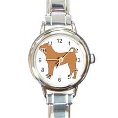 Chinese Shar Pei Silo Color Round Italian Charm Watch