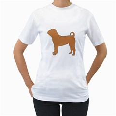 Chinese Shar Pei Silo Color Women s T-Shirt (White) (Two Sided)