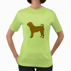 Chinese Shar Pei Silo Color Women s Green T-Shirt