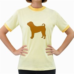 Chinese Shar Pei Silo Color Women s Fitted Ringer T-Shirts