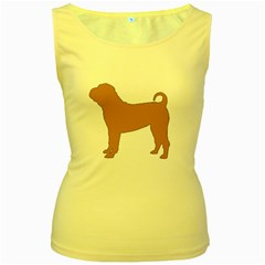 Chinese Shar Pei Silo Color Women s Yellow Tank Top