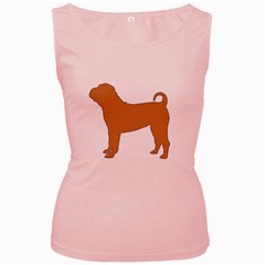 Chinese Shar Pei Silo Color Women s Pink Tank Top