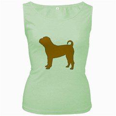 Chinese Shar Pei Silo Color Women s Green Tank Top