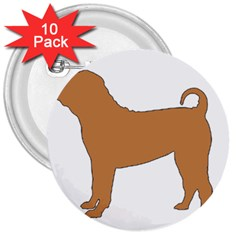 Chinese Shar Pei Silo Color 3  Buttons (10 pack)