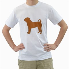 Chinese Shar Pei Silo Color Men s T-Shirt (White) (Two Sided)
