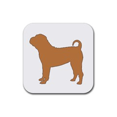 Chinese Shar Pei Silo Color Rubber Square Coaster (4 pack)