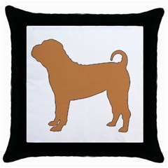 Chinese Shar Pei Silo Color Throw Pillow Case (Black)