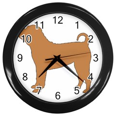 Chinese Shar Pei Silo Color Wall Clocks (Black)