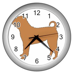 Chinese Shar Pei Silo Color Wall Clocks (Silver)