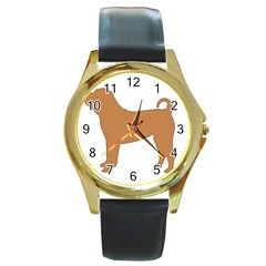 Chinese Shar Pei Silo Color Round Gold Metal Watch