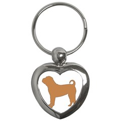 Chinese Shar Pei Silo Color Key Chains (Heart)