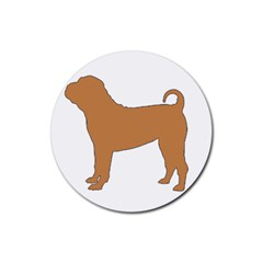Chinese Shar Pei Silo Color Rubber Round Coaster (4 pack)