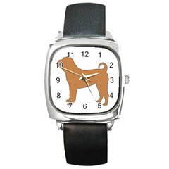 Chinese Shar Pei Silo Color Square Metal Watch
