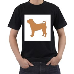 Chinese Shar Pei Silo Color Men s T-Shirt (Black) (Two Sided)
