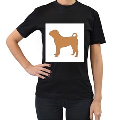 Chinese Shar Pei Silo Color Women s T-Shirt (Black) (Two Sided)