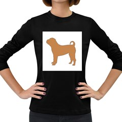 Chinese Shar Pei Silo Color Women s Long Sleeve Dark T-Shirts