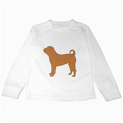 Chinese Shar Pei Silo Color Kids Long Sleeve T-Shirts