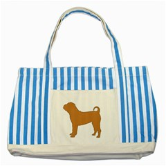 Chinese Shar Pei Silo Color Striped Blue Tote Bag