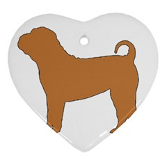 Chinese Shar Pei Silo Color Heart Ornament (Two Sides)