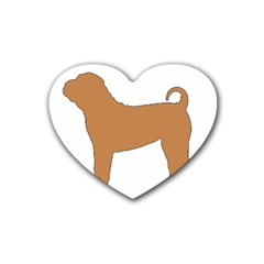 Chinese Shar Pei Silo Color Heart Coaster (4 pack)