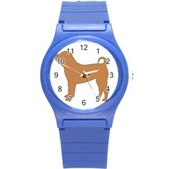 Chinese Shar Pei Silo Color Round Plastic Sport Watch (S)