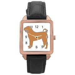 Chinese Shar Pei Silo Color Rose Gold Leather Watch
