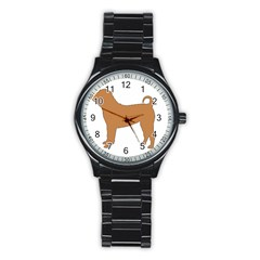 Chinese Shar Pei Silo Color Stainless Steel Round Watch
