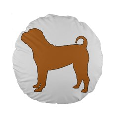 Chinese Shar Pei Silo Color Standard 15  Premium Flano Round Cushions
